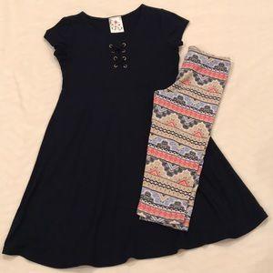 Girls Dress & Leggings Outfit